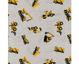 100% Cotton Diggers and Trucks Print on Grey Fabric x 0.5m